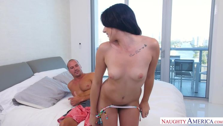 Megan Sage fucking in the bed with her small natural tits